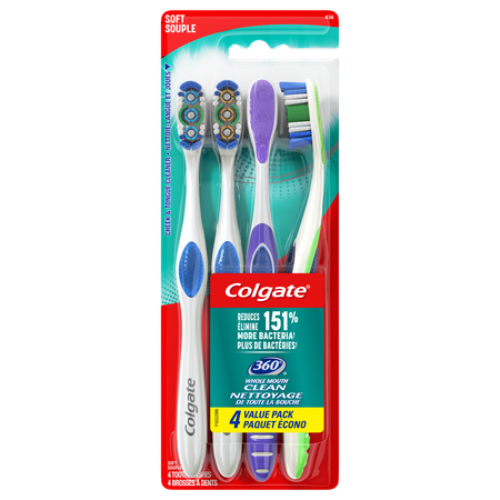 Colgate 360 Adult Full Head Soft Toothbrush - 4 Count (Toothbrush For Work)