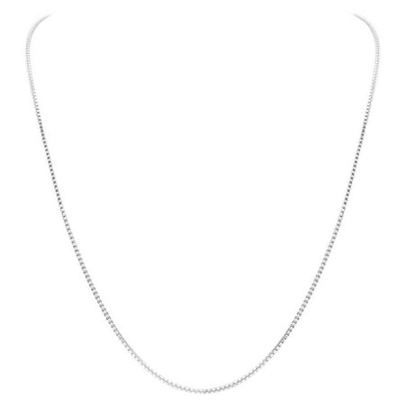 Gem Avenue Italian 925 Sterling Silver 1mm Sturdy Box Link Chain Necklace