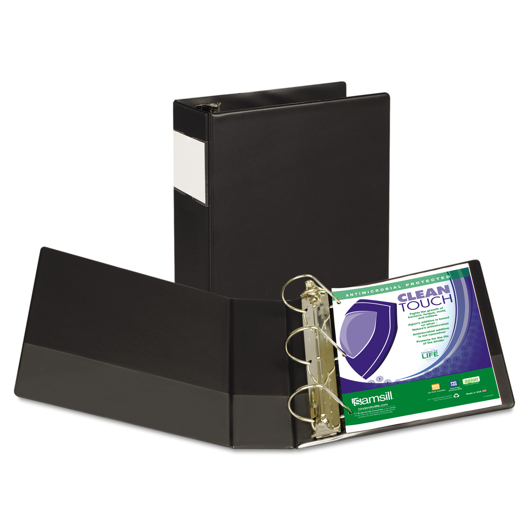 "Samsill Clean Touch Locking D-Ring Reference Binder, Antimicrobial, 4"" Cap, Black -SAM16390"