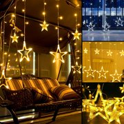 EEEKit Star Christmas Lights,138 LED 12 Star Curtain String Lights, Waterproof Fairy Star Lights, 6.6x3.9ft Decorative Window Light for Bedroom Indoor Outdoor Wedding Party Garden, 8 Flashing Modes