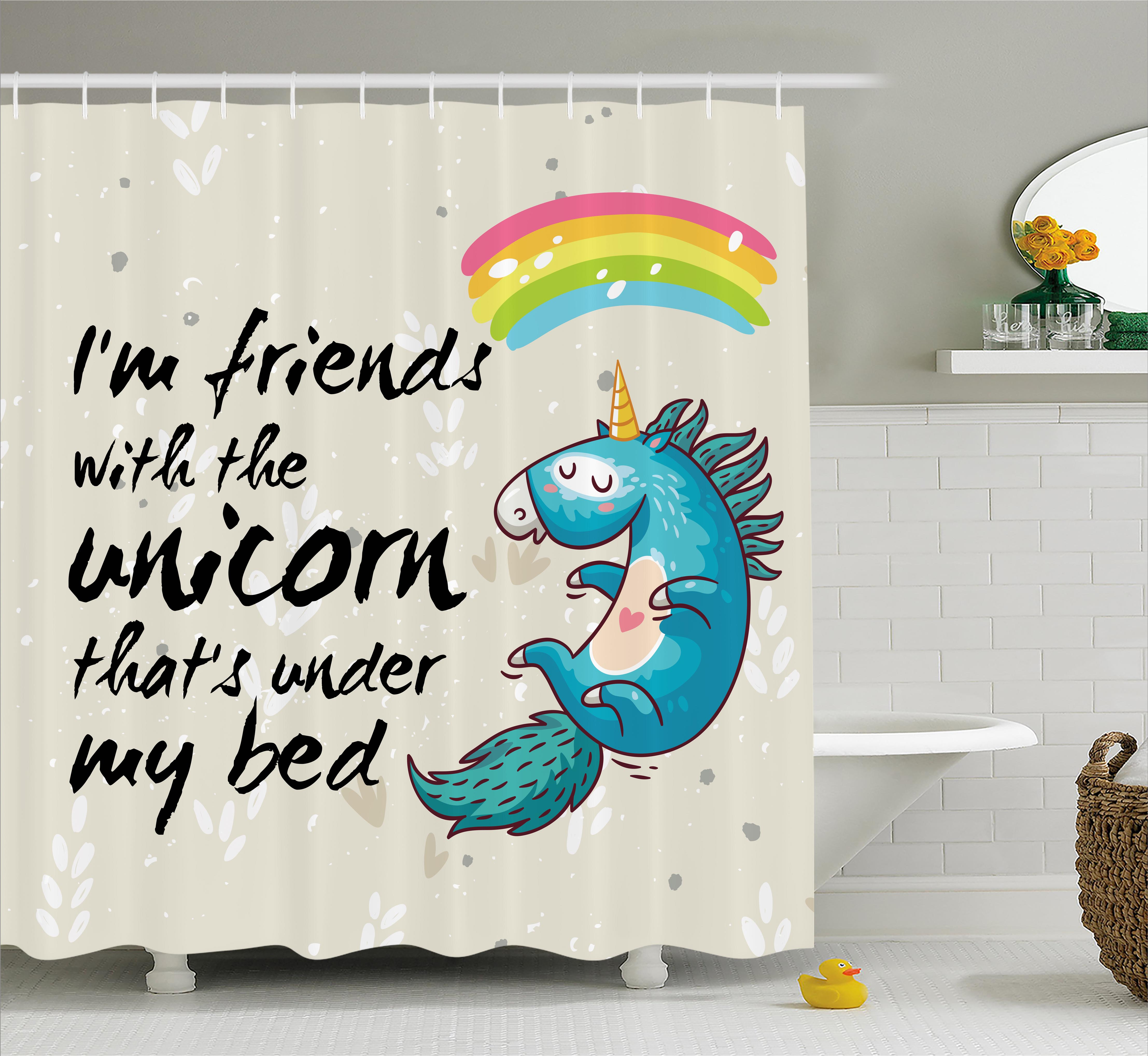 Cartoon Decor Shower Curtain Set, Unicorn Dreaming With Rainbow Magical Myst Epic Creature Pony Grace Artsy Cartoon, Bathroom Accessories, 69W X 70L Inches, By Ambesonne