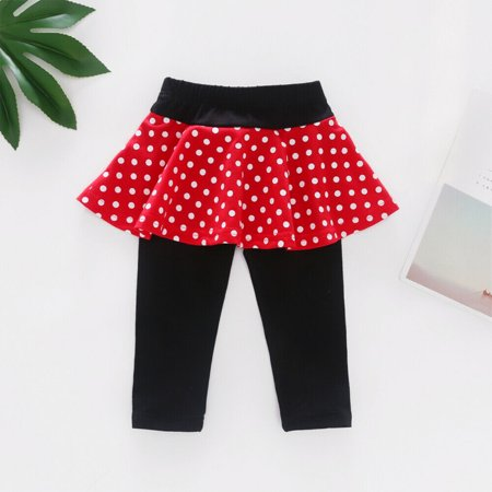 Toddler Baby Girls Polka Dot Culottes Leggings With Tutu Skirt Pants Clothes