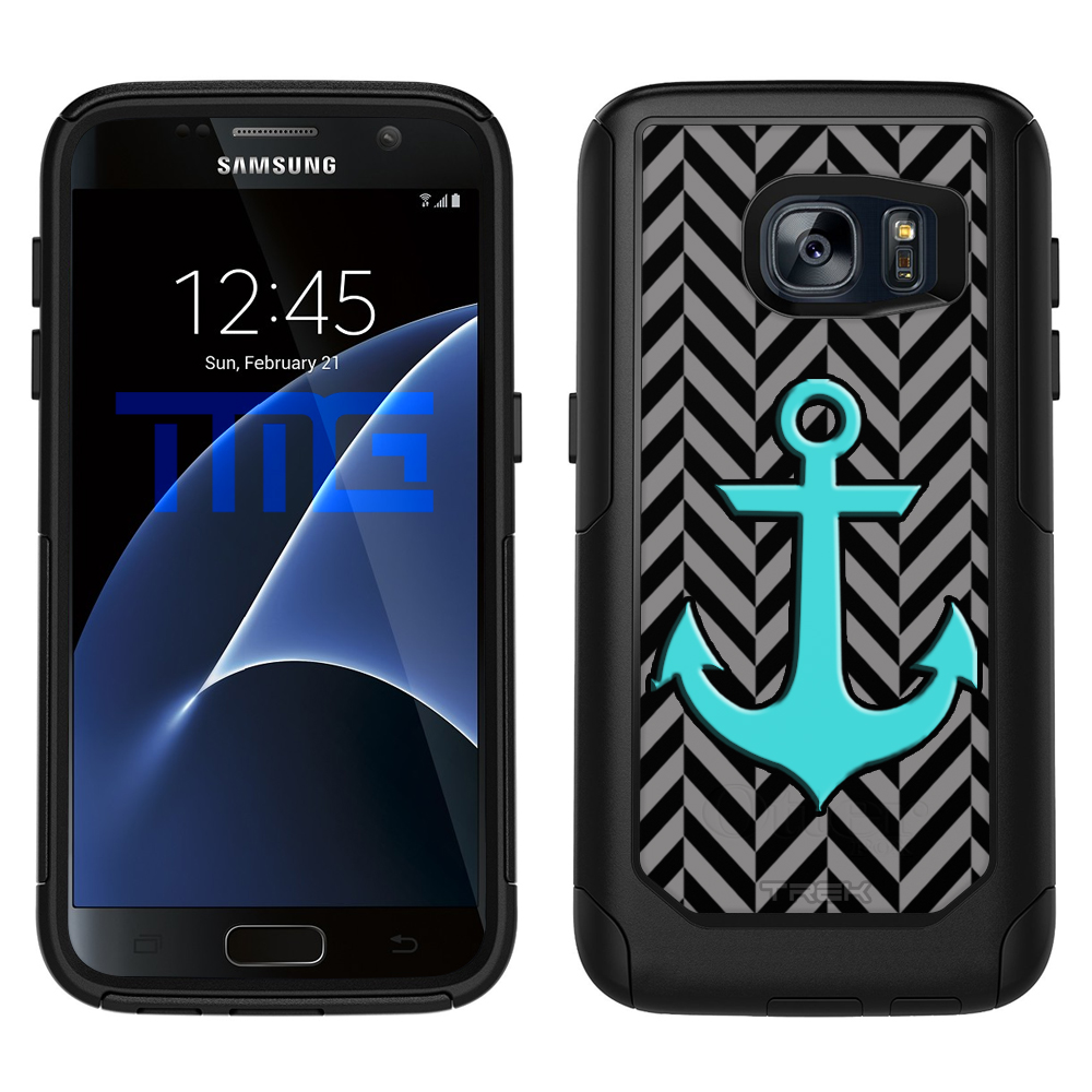 SKIN DECAL FOR OtterBox Commuter Samsung Galaxy S7 Case - Anchor on Chevron Mini Pewter Black DECAL, NOT A CASE
