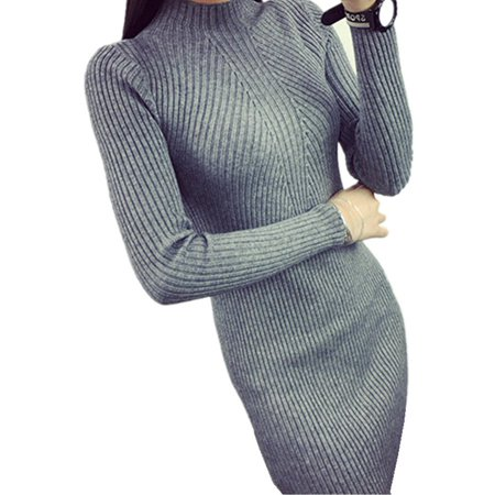 0e2282bbf257 Celmia - Sexy Slim Long Sleeve Turtleneck Knitted Sweaters Dress For ...