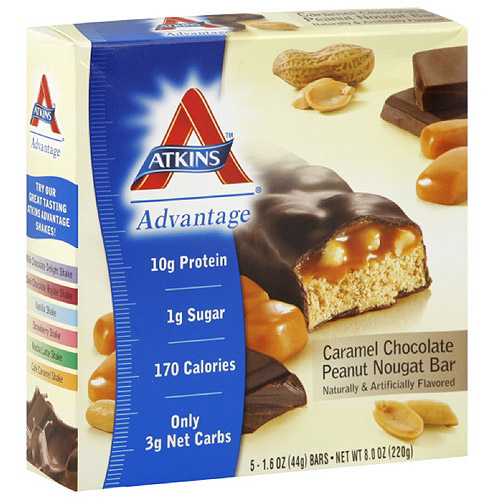 Atkins Advantage Caramel Chocolate Peanut Nougat Bars, 1.6 oz, 5ct (Pack of 6)