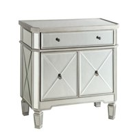 Bowery Hill 2 Door Mirrored Accent Wine Rack Server in Silver