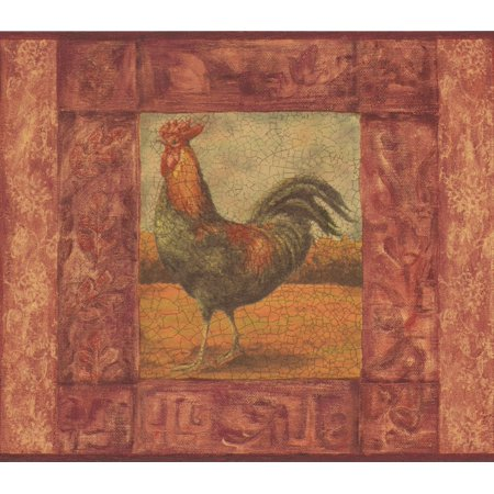 (Cracked Red Frame Painting of Rooster Vintage Wallpaper Border Retro Design, Roll 15' x 7'')