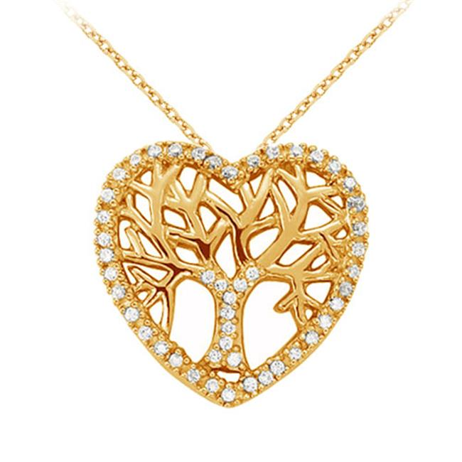 Fine Jewelry Vault UBNPD31994Y14D Diamond Heart Pendant in 14K Yellow Gold 0. 05 CT TDWPerfect Jewelry Gift for Women