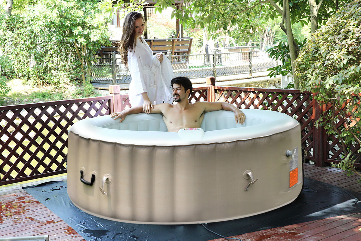 Costway Portable Inflatable Bubble Massage Spa Hot Tub 6 Person Relaxing Outdoor by Costway
