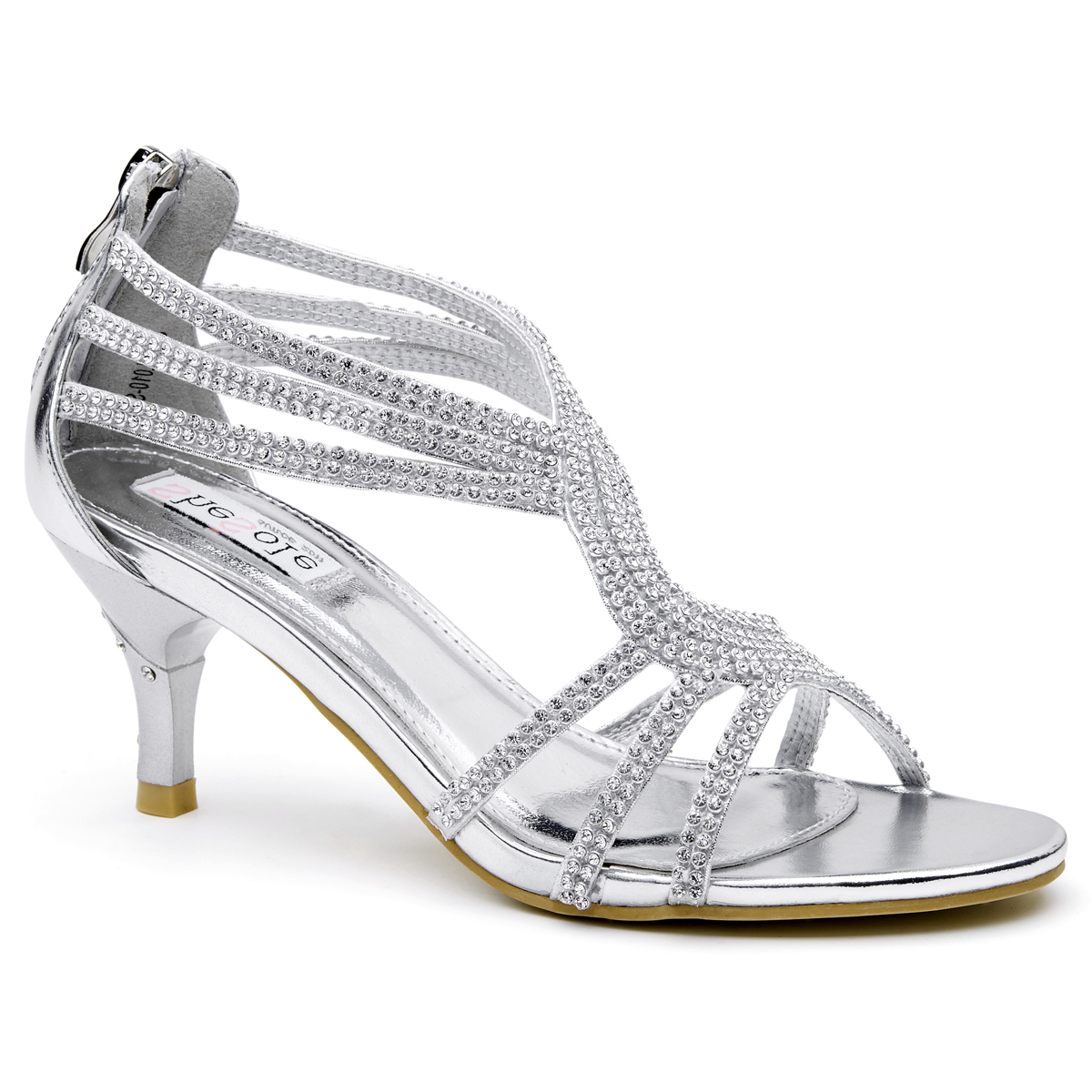 Details about  /Womens Wedding Bridal Mid Heel Glitter Rhinestone Dress Casual Sandal Shoes Top