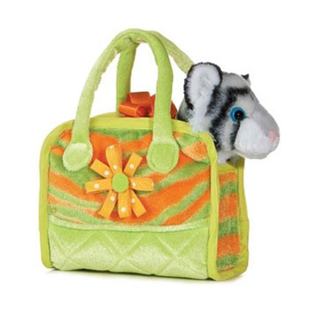 Aurora World Plush - Fancy Pals Pet Carrier - COLORFUL WHITE TIGER (7 inch)