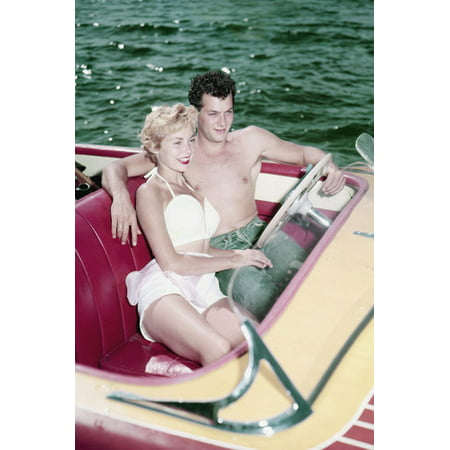 Tony Curtis and Janet Leigh bare chested bikini in speed boat 1950's 24x36 Poster
