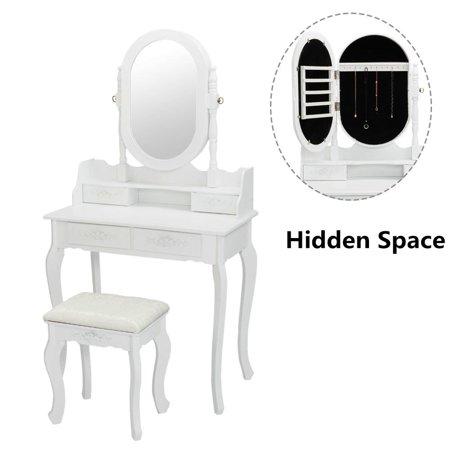 Ktaxon Vanity Jewelry Wooden Makeup Dressing Table Set W/Stool Mirror Cabinet &4 Drawer