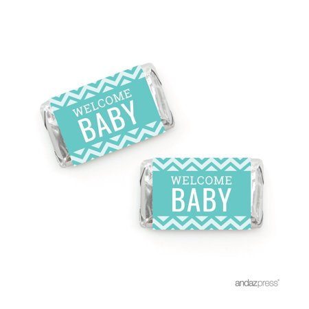 Diamond Blue Chevron Baby Shower Hershey´s Miniatures Mini Candy Bar Wrappers, 36-Pack - Blue Wrapped Candy