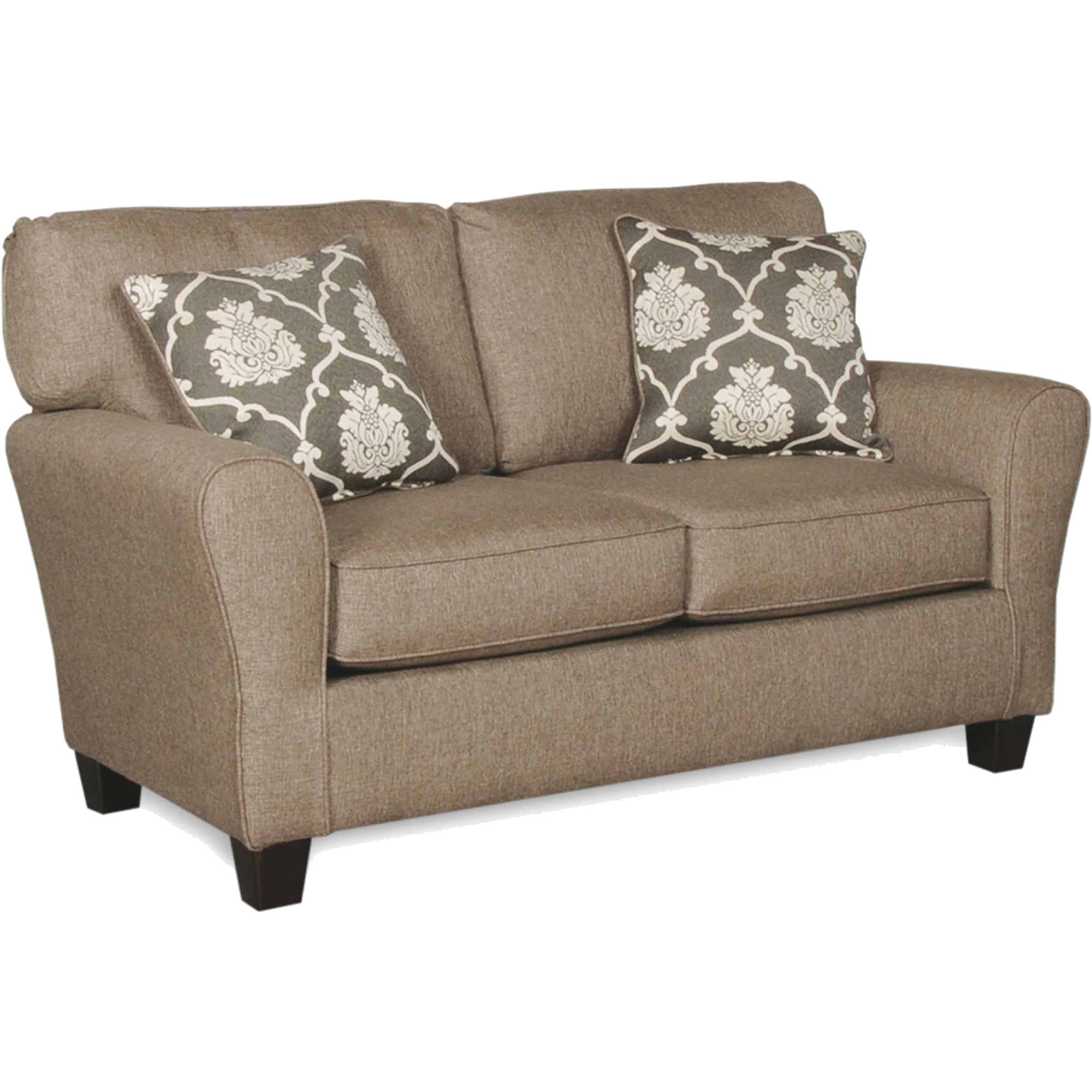 SoFab Aubrey Grande Brown with Light Grey Love Seat with 2 Reversible Accent Pillows