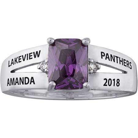 Personalized Women's Sterling Silver Emerald-Cut Birthstone Class Ring (Walmart Graduation Rings)
