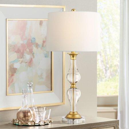 Vienna Full Spectrum Terri Clear Crystal and Brass Table Lamp