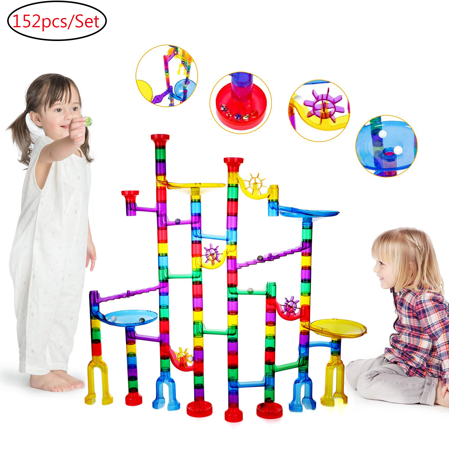 Marble Run Set,105 PCS Marble Race Track Toy for Kids,Construction Building Blocks Stem Toys Game for 4-9 Year Old Kids, Marble Maze 75 Complete Pieces+30 PCS Glass Marbles + Installation Manual