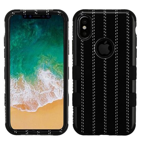 iPhone X Case Screen Protector Combo, by Insten Striped Suit Dual Layer Hybrid PC/TPU Rubber Case Cover for Apple iPhone X - Black (Bundle with Anti Spy Privacy Tempered Glass Screen Protector) - Spy Suits For Sale