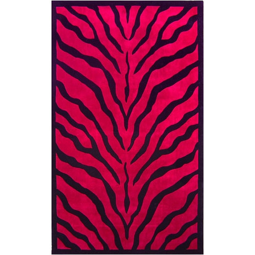 American Home Rug Co. African Safari Pink/Black Zebra Print Area Rug