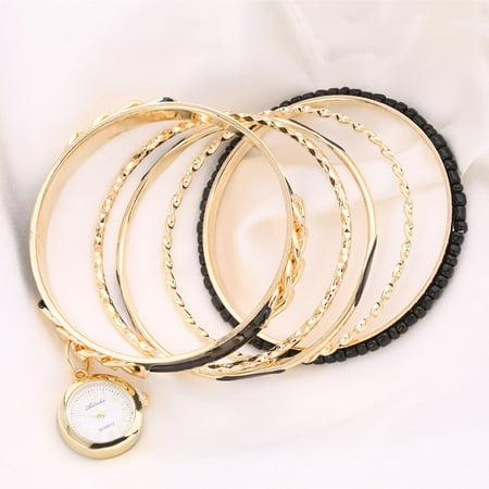 (Elegant Vintage Retro Women Lady Unique Five Layers Bracelet with Watch)