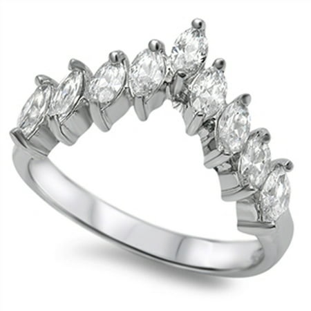 Curved Banana Ring (Sterling Silver Women's Flawless Colorless Cubic Zirconia Curve Chevron Ring (Sizes 5-10) (Ring Size 9) )