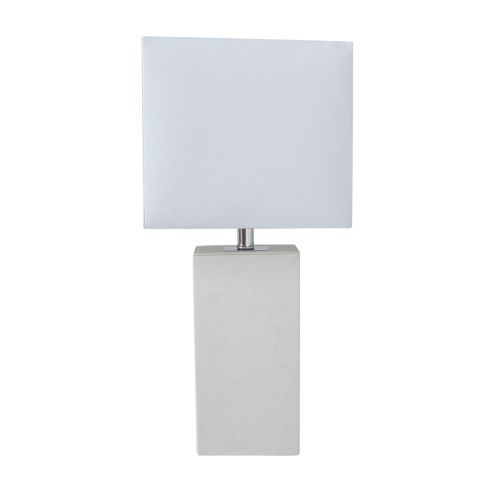 Elegant Designs Modern Leather Table Lamp with White Fabric Shade, Green by All the Rages
