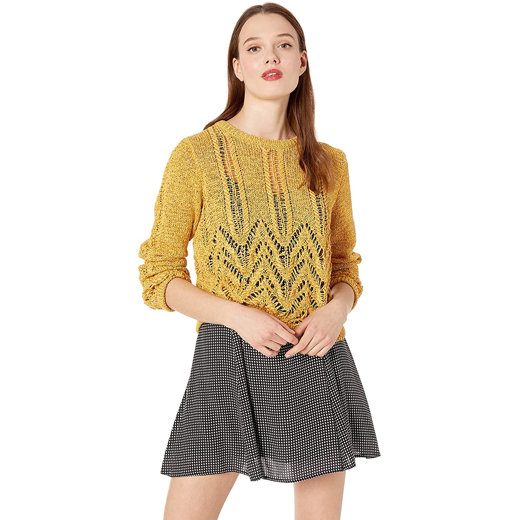 BCBGMAXAZRIA Women's Mixed Stitch Pullover Sweater, Golden Yellow, S