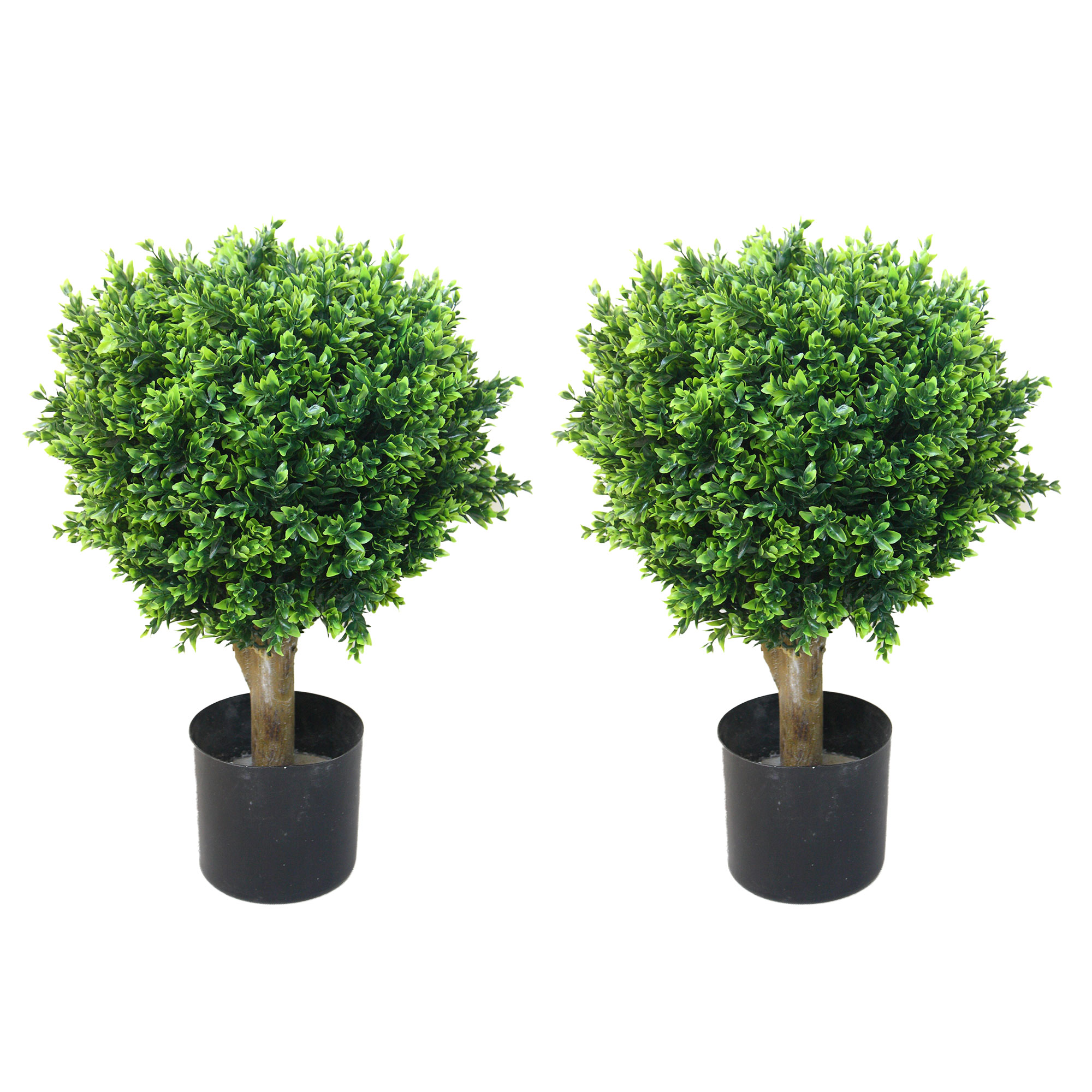 "Pure Garden 24"" Hedyotis Artificial Tree Topiary Indoor/Outdoor, Green, Set of 2"