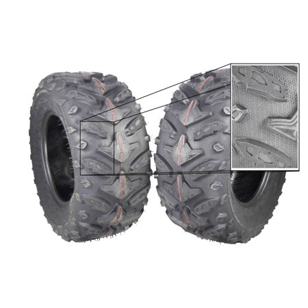 Crossfire Dual Tire (MASSFX Grinder 25x10-12 Rear 2 Set ATV Tires 25x10x12 Dual Compound)