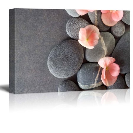 wall26 Peach Colored Flower on Smooth Zen Stones - Canvas Art Home Decor - 12x18