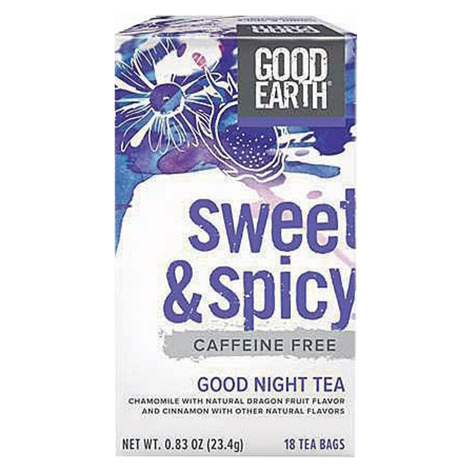 Good Earth Good Night Tea -sweet & Spicy Caffeine Free - pack of 6 - 18 Bag