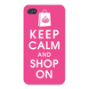 Apple Iphone Custom Case 5 5s AND SE Snap on - Keep Calm and Shop On w/ Shopping Bag on Pink Easy access to all buttons and ports