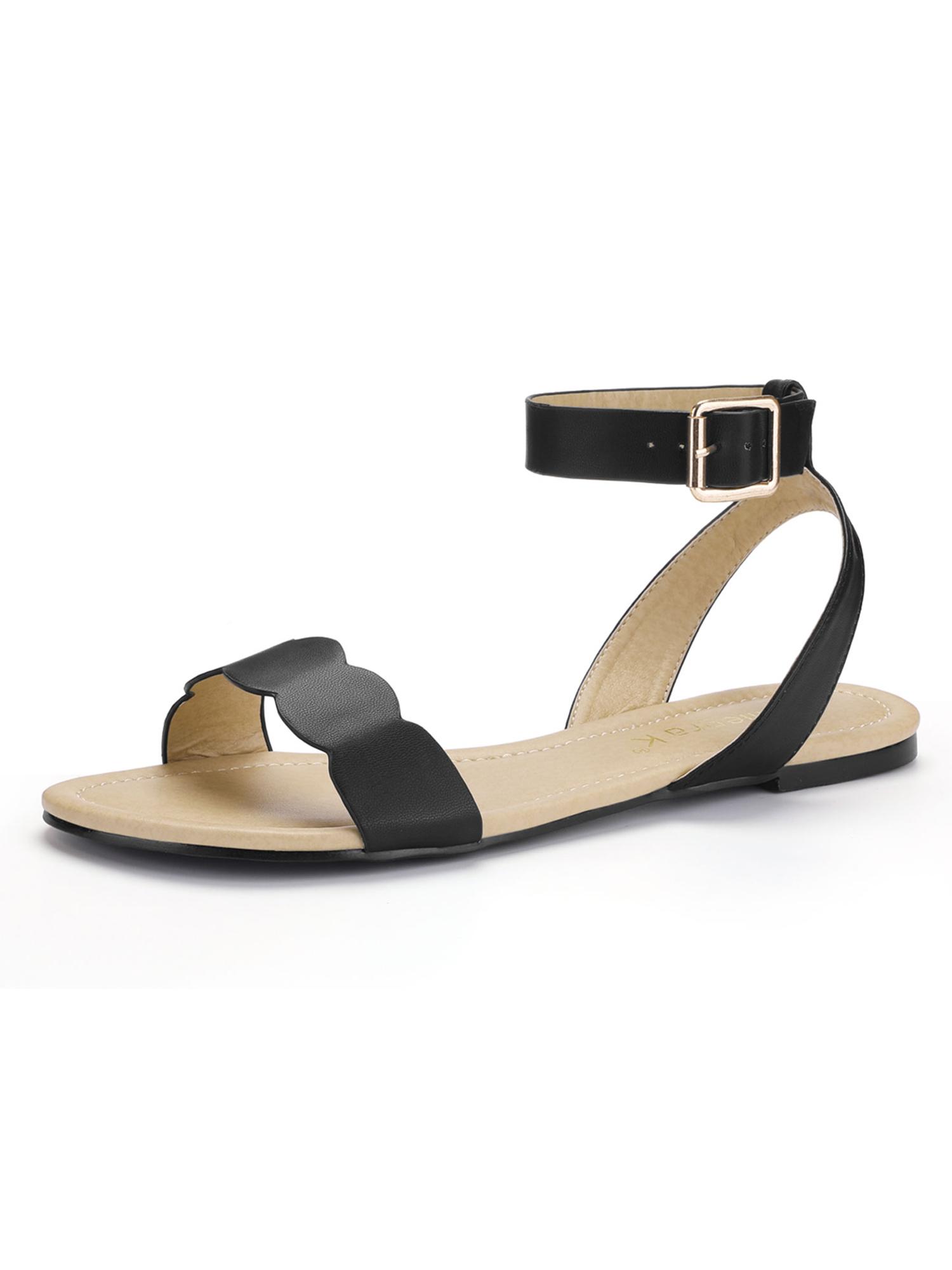 46c1a4f1a1a Cute black peep toe flat sandals M 560aaf2f4e95a3ff9c000b17 Source · Unique  Bargains Women s Open Toe Scalloped Edge Ankle Strap Flat
