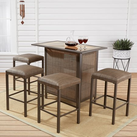 Mainstays Daine Park 5-Piece Patio Sling Bar Stool and Table Set - Tiki Bar Set