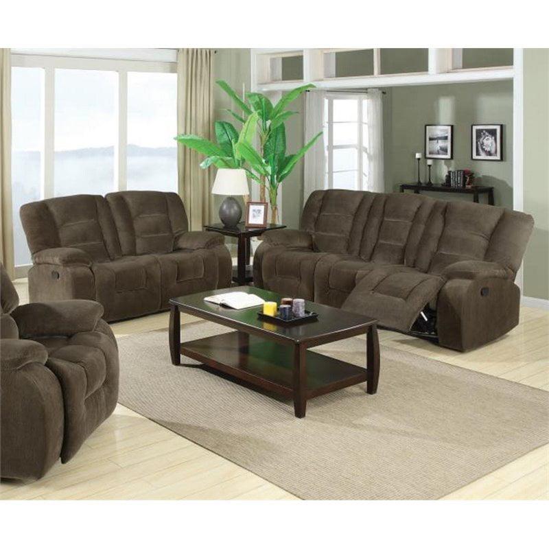 Coaster Charlie 2 Piece Reclining Sofa Set in Brown Sage Velvet