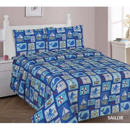 8b884da4e034 WPM Sailor Blue bedding set whale shark sea creatures boat print choose  from Full Twin comforter or bed sheets or window curtains panels for  kids girls boys ...