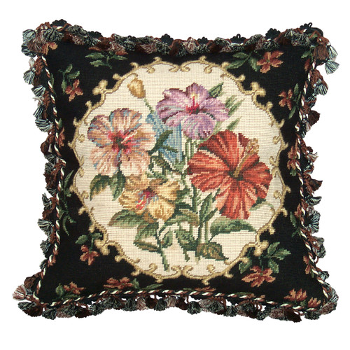 123 Creations Hibiscus Needlepoint Wool Throw Pillow