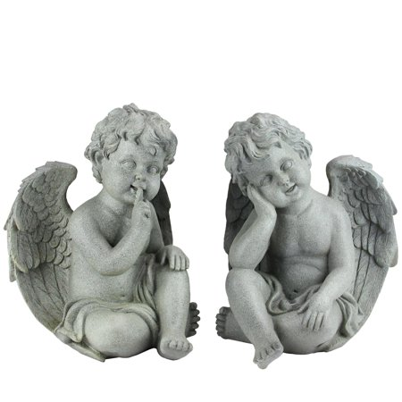Northlight Set of 2 Distressed Gainsboro Gray Sitting Cherub Angels Outdoor Patio Garden Statues