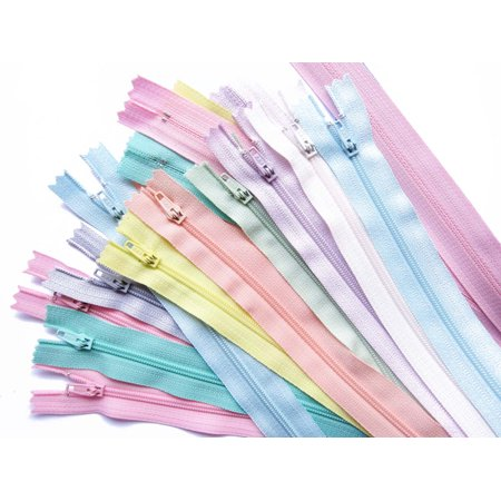 ZipperStop Wholesale Authorized Distributor YKK® Zipper 20pcs Assorted Colors YKK #3 Nylon Coil Zippers Tailor Sewer Crafter's 14 Inch Light, Pastel, Muted