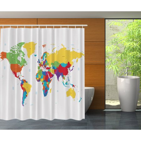 World Globe Map Educational Geographical Earth Atlas Fabric Shower Curtain Set Image 1 Of