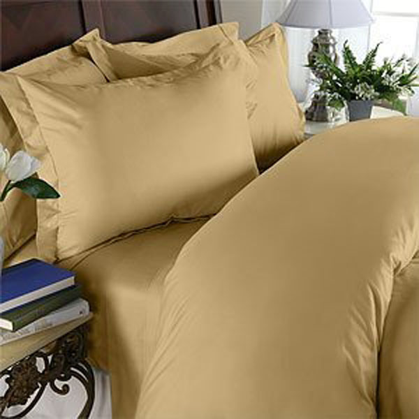 Egyptian Bedding 100% Egyptian Cotton 300 Thread Count 3 Peice Bed Sheet Set, Gold Solid, Twin Size
