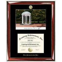 University of North Carolina, Chapel Hill 11.5 x 14 Gold Embossed Diploma Frame with Campus Images Lithograph