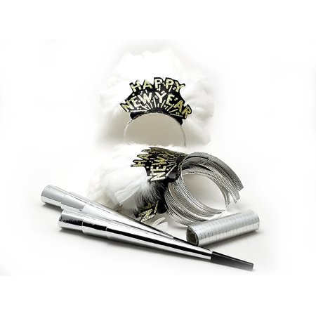 6 LADIES NIGHT OUT New Years Eve party kit - feather tiaras blowers & confetti - New Years Eve Theme