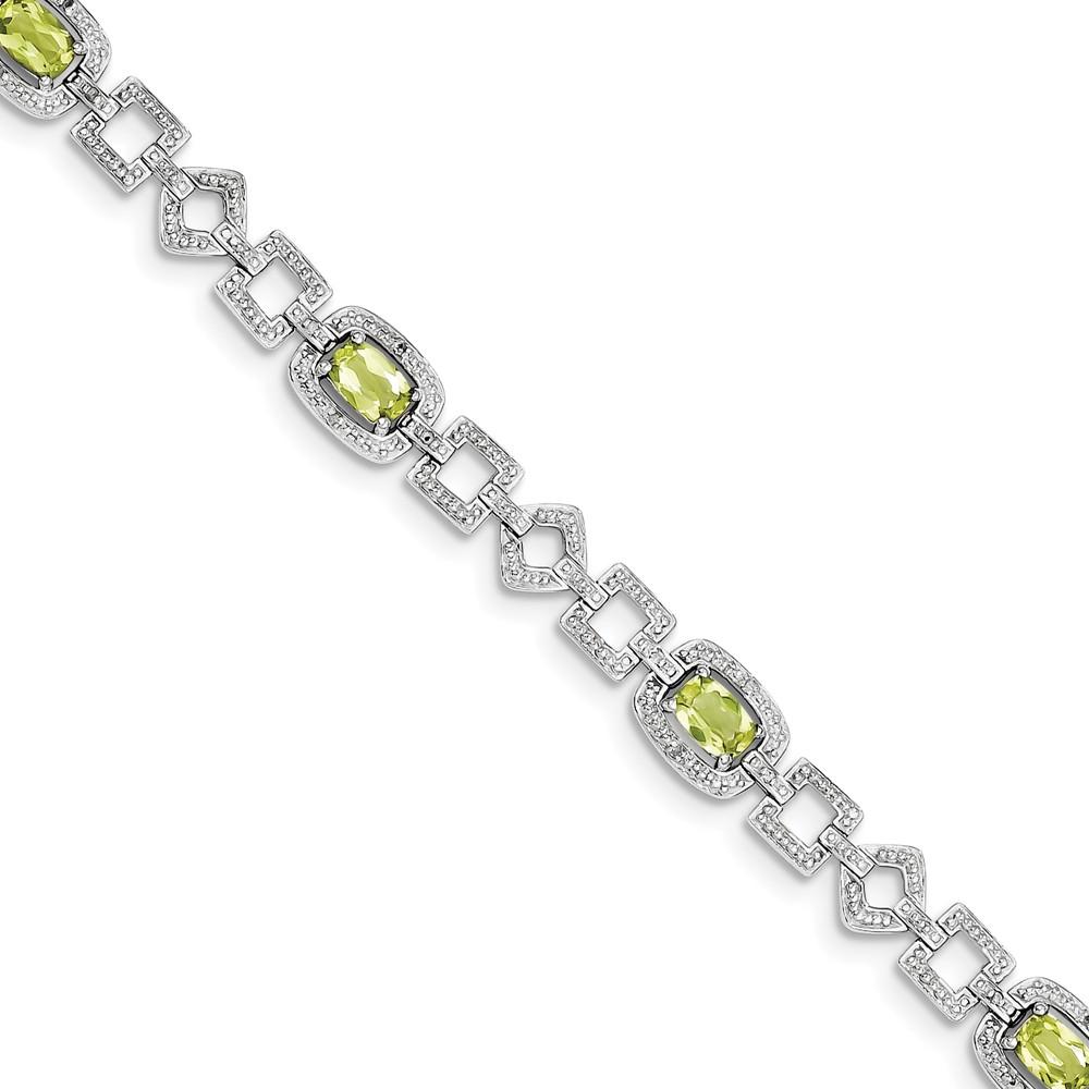 "Sterling Silver Diamond & Simulated Peridot Bracelet 7"" (8mm) by AA Jewels"