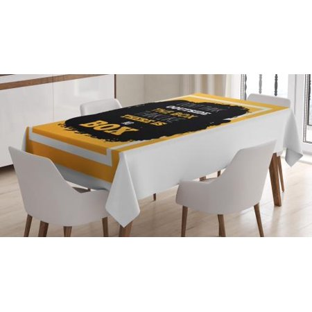 Inspirational Tablecloth, Wise Words about Original Ideas and Creative Thinking Motivational, Rectangular Table Cover for Dining Room Kitchen, 60 X 90 Inches, Marigold Black White, by Ambesonne ()