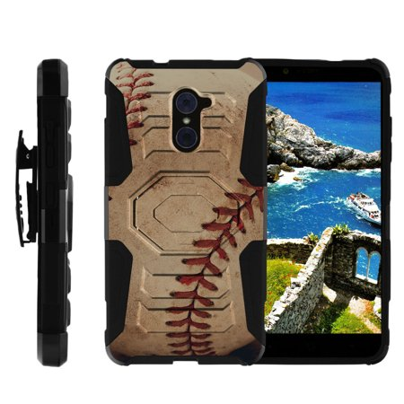 ZTE Max Duo Heavy Duty Case, ZTE Grand X Max 2 Case, ZTE Imperial Max Case for boys [Armor Reloaded] Dual Layer Shell + Holster Clip and Kickstand Design by Miniturtle® - Close Up Baseball (Capes For Boys)