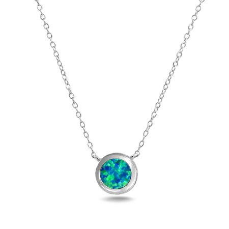 1CT Solitaire Round Bezel Blue Created Opal Pendant Necklace For Women Girlfriend Sterling Silver October Birthstone - image 3 de 5