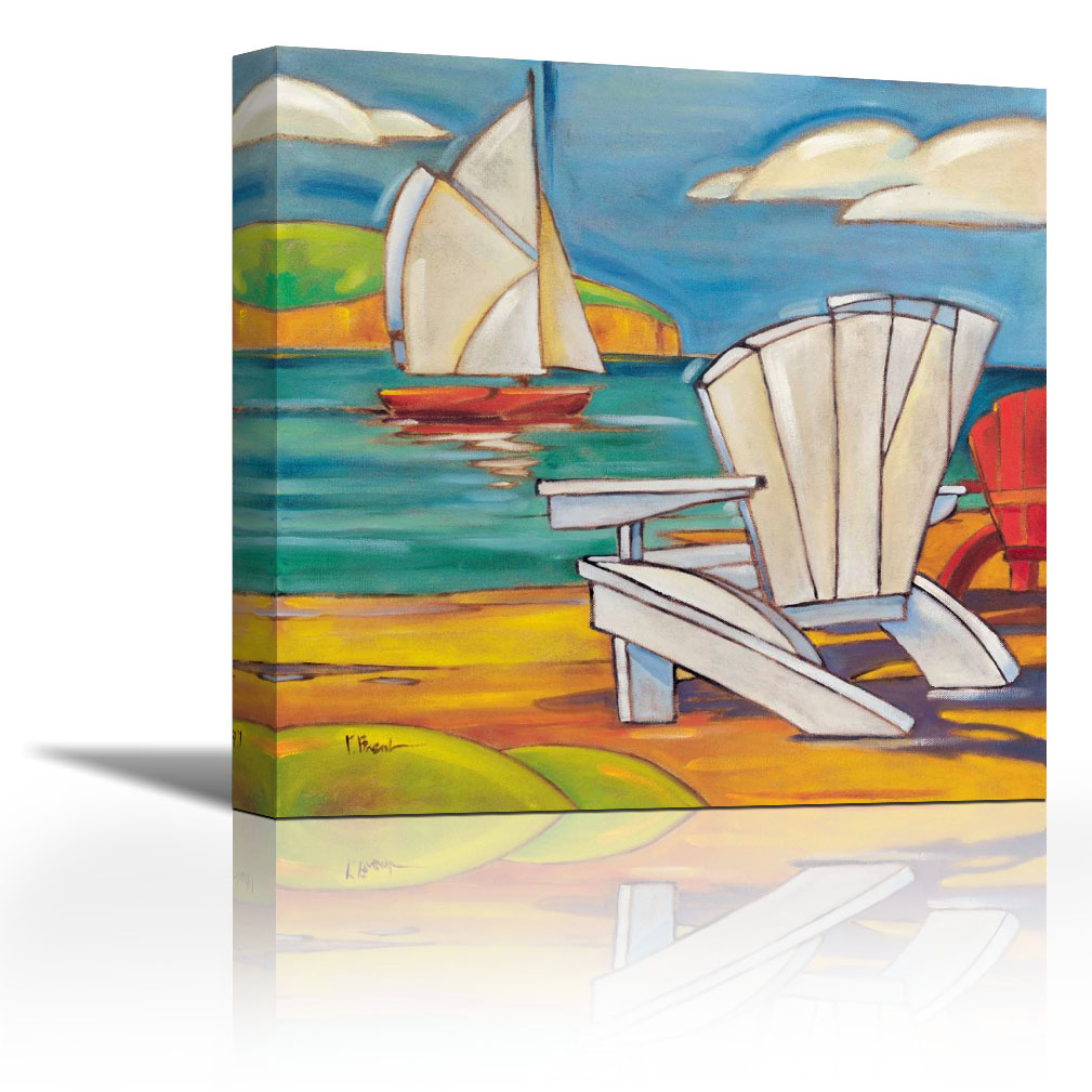 Adirondack Chair Contemporary Fine Art Giclee on Canvas Gallery Wrap wall décor Art painting 36 x 36 Inch Ready to Hang by US ART