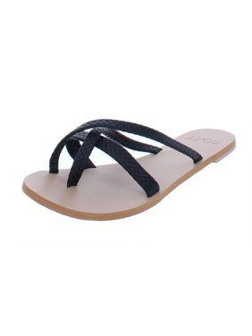 e369445ad25 Product Image Roxy Womens Kyle Faux Leather Toe Loop Flat Sandals